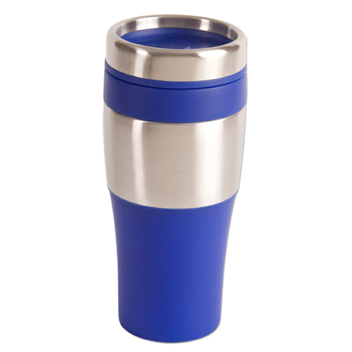 Blue 16 oz. Silver Streak Tumbler as seen from the front