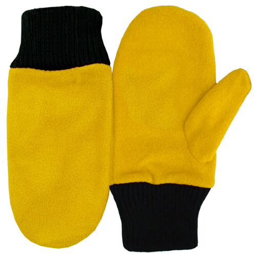 Bright Gold Mascot Mittens as seen from the front
