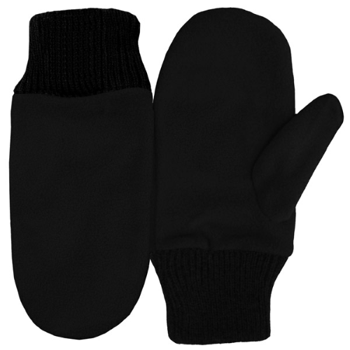 Black Fleece Mittens as seen from the front