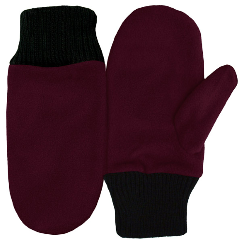 Burgundy Fleece Mittens as seen from the front