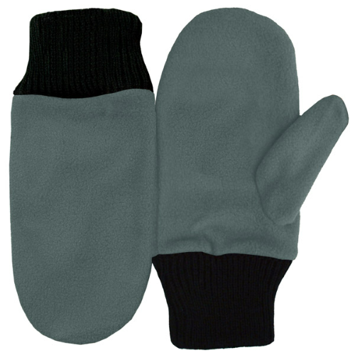 Gray Fleece Mittens as seen from the front