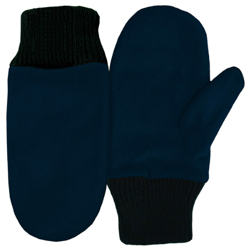 Navy Fleece Mittens as seen from the front