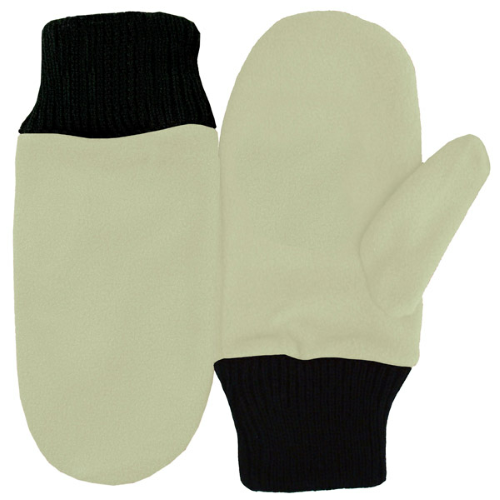 Off White Fleece Mittens as seen from the front