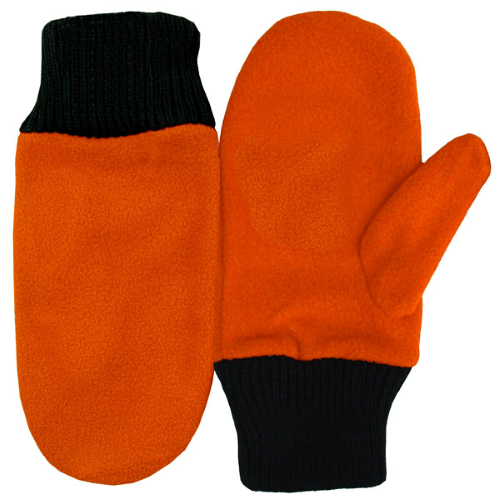 Orange Fleece Mittens as seen from the front