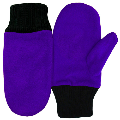 Purple Fleece Mittens as seen from the front