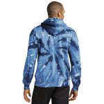 Navy Port & Company Essential Tie-Dye Pullover Hooded Sweatshirt as seen from the back