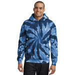 Navy Port & Company Essential Tie-Dye Pullover Hooded Sweatshirt as seen from the front