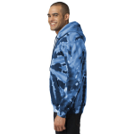 Navy Port & Company Essential Tie-Dye Pullover Hooded Sweatshirt as seen from the sleeveright