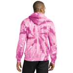 Pink Port & Company Essential Tie-Dye Pullover Hooded Sweatshirt as seen from the back