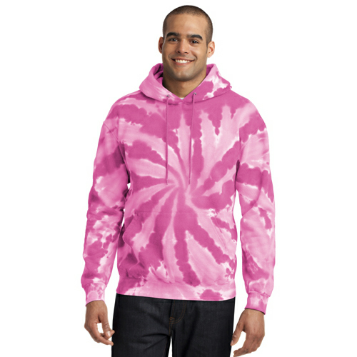 Pink Port & Company Essential Tie-Dye Pullover Hooded Sweatshirt as seen from the front