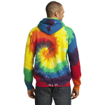 Rainbow Port & Company Essential Tie-Dye Pullover Hooded Sweatshirt as seen from the back