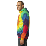 Rainbow Port & Company Essential Tie-Dye Pullover Hooded Sweatshirt as seen from the sleeveright