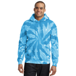 Turquoise Port & Company Essential Tie-Dye Pullover Hooded Sweatshirt as seen from the front