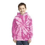 Pink Port & Company Youth Essential Tie-Dye Pullover Hooded Sweatshirt as seen from the front