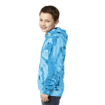 Turquoise Port & Company Youth Essential Tie-Dye Pullover Hooded Sweatshirt as seen from the sleeveright