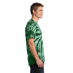 Forest Green Port & Company Essential Tie-Dye Tee as seen from the sleeveright