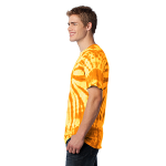 Gold Port & Company Essential Tie-Dye Tee as seen from the sleeveleft