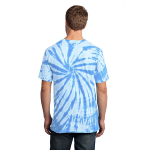 Light Blue Port & Company Essential Tie-Dye Tee as seen from the back