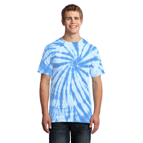 Light Blue Port & Company Essential Tie-Dye Tee as seen from the front