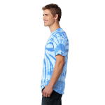 Light Blue Port & Company Essential Tie-Dye Tee as seen from the sleeveleft