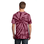 Maroon Port & Company Essential Tie-Dye Tee as seen from the back