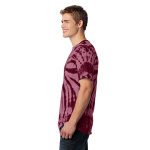 Maroon Port & Company Essential Tie-Dye Tee as seen from the sleeveleft