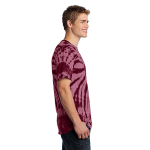 Maroon Port & Company Essential Tie-Dye Tee as seen from the sleeveright