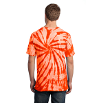 Orange Port & Company Essential Tie-Dye Tee as seen from the back