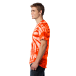 Orange Port & Company Essential Tie-Dye Tee as seen from the sleeveleft