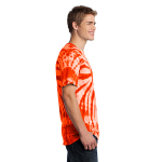Orange Port & Company Essential Tie-Dye Tee as seen from the sleeveright