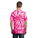 Pink Port & Company Essential Tie-Dye Tee as seen from the back