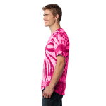 Pink Port & Company Essential Tie-Dye Tee as seen from the sleeveleft