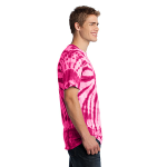Pink Port & Company Essential Tie-Dye Tee as seen from the sleeveright