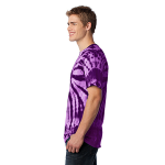 Purple Port & Company Essential Tie-Dye Tee as seen from the sleeveleft