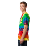 Rainbow Port & Company Essential Tie-Dye Tee as seen from the sleeveleft