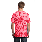 Red Port & Company Essential Tie-Dye Tee as seen from the back