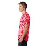 Red Port & Company Essential Tie-Dye Tee as seen from the sleeveleft
