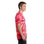 Red Port & Company Essential Tie-Dye Tee as seen from the sleeveright