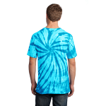 Turquoise Port & Company Essential Tie-Dye Tee as seen from the back