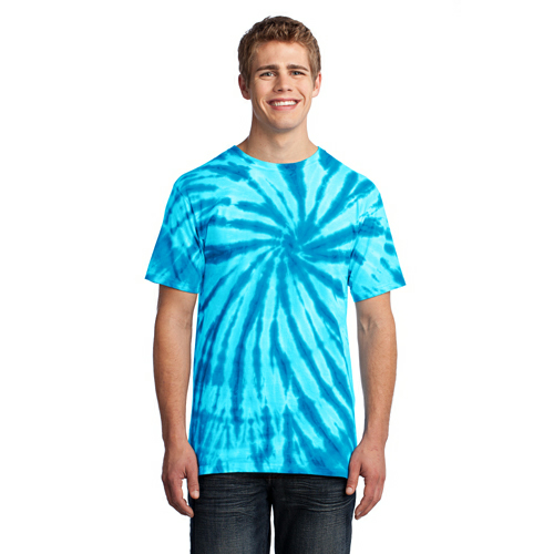 Turquoise Port & Company Essential Tie-Dye Tee as seen from the front