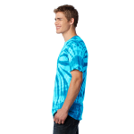 Turquoise Port & Company Essential Tie-Dye Tee as seen from the sleeveleft