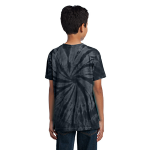 Black Port & Company Youth Essential Tie-Dye Tee as seen from the back