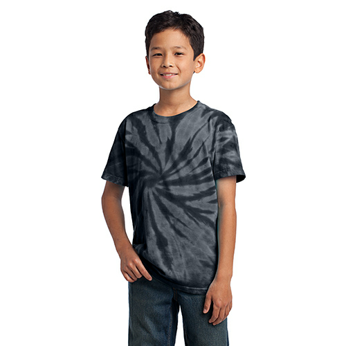 Black Port & Company Youth Essential Tie-Dye Tee as seen from the front