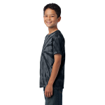 Black Port & Company Youth Essential Tie-Dye Tee as seen from the sleeveleft