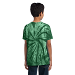 Forest Green Port & Company Youth Essential Tie-Dye Tee as seen from the back