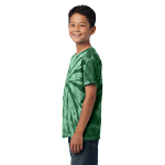Forest Green Port & Company Youth Essential Tie-Dye Tee as seen from the sleeveleft