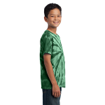 Forest Green Port & Company Youth Essential Tie-Dye Tee as seen from the sleeveright
