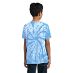 Light Blue Port & Company Youth Essential Tie-Dye Tee as seen from the back