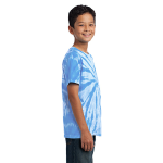 Light Blue Port & Company Youth Essential Tie-Dye Tee as seen from the sleeveright