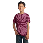 Maroon Port & Company Youth Essential Tie-Dye Tee as seen from the front